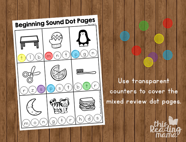 Beginning Sound Dot Pages - use transparent counters