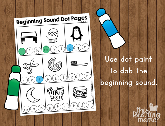 Beginning Sound Dot Pages - use dot markers