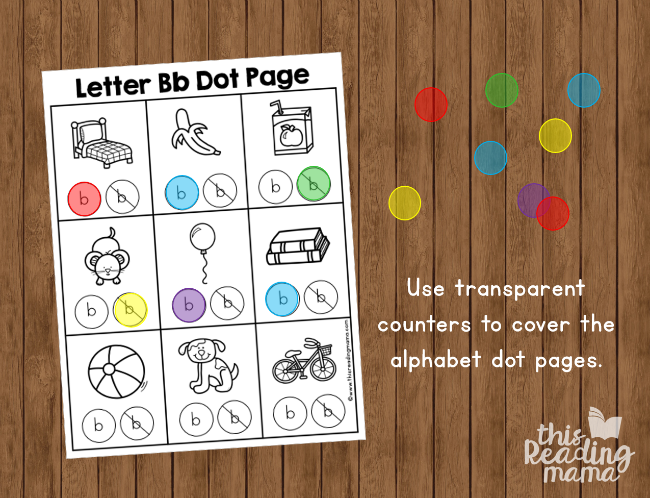 make alphabet dot pages reusable with transparent counters - This Reading Mama