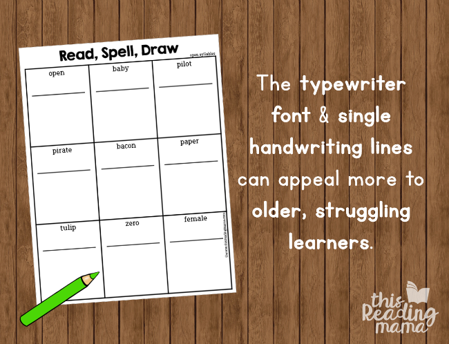 multisyllable phonics pages for older learners