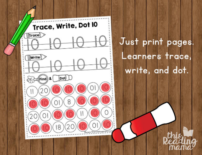 number handwriting pages - use pencil and dot paint