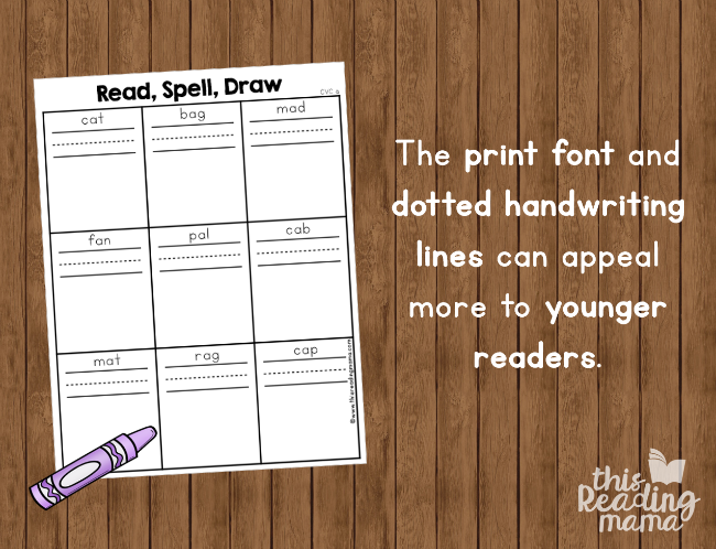 short vowel phonics pages with print font and dotted handwriting lines
