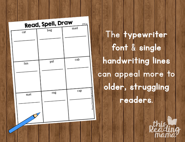 short vowel phonics pages with typewriter font and single handwriting lines