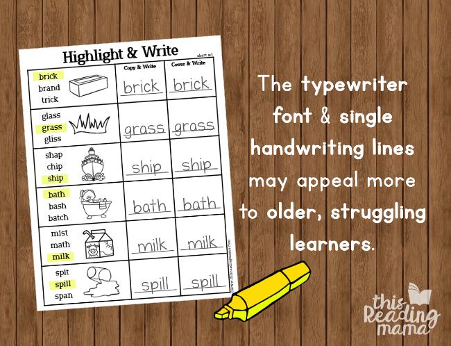 short vowel spelling pages for older learners