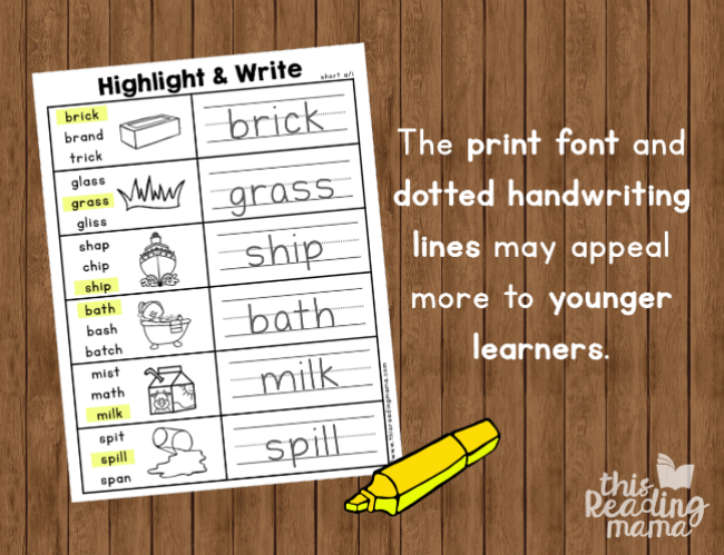 short vowel spelling pages for younger learners