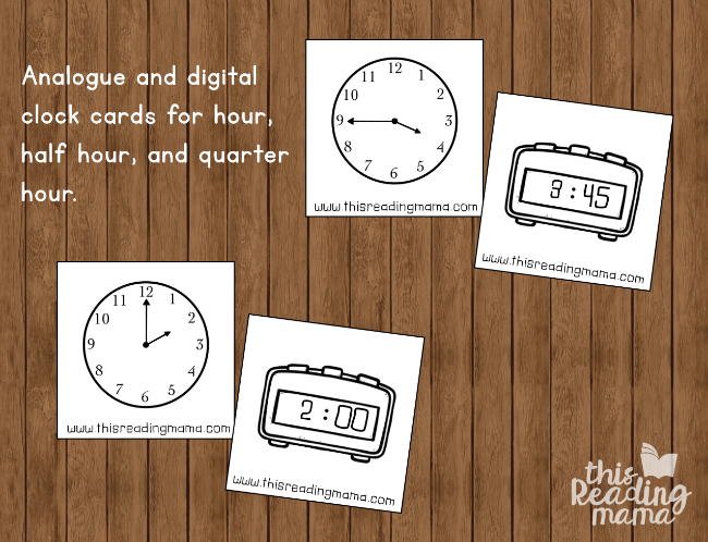 telling time matching cards for hour, half hour, quarter hour