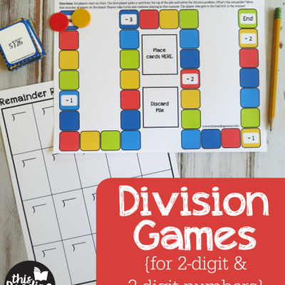 Printable Division Games {Remainder Race}