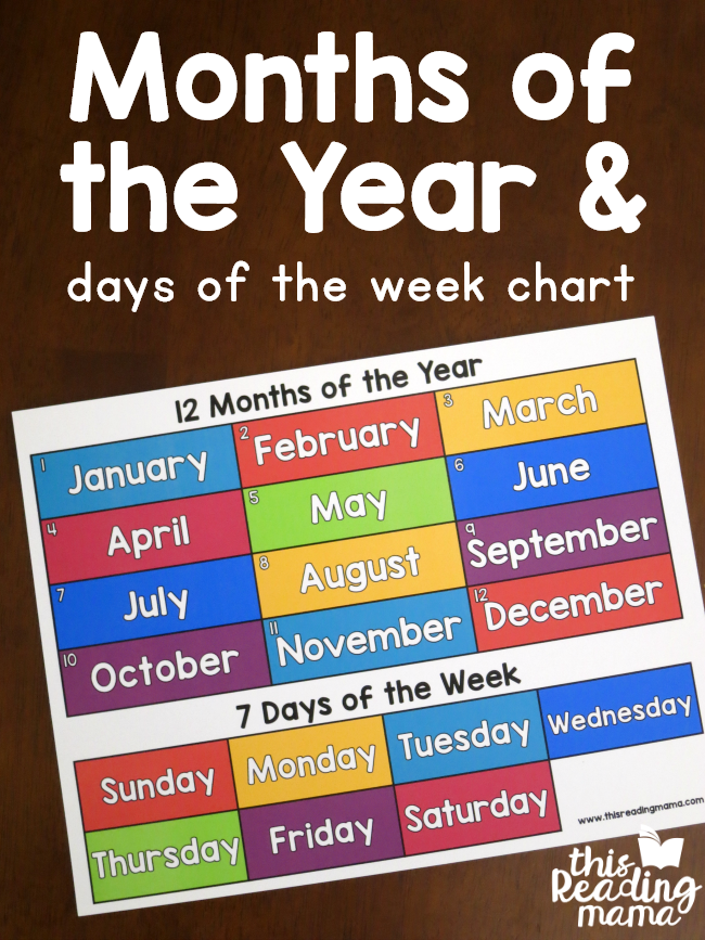 Months of the Year Chart {with the Days of the Week} - This Reading Mama