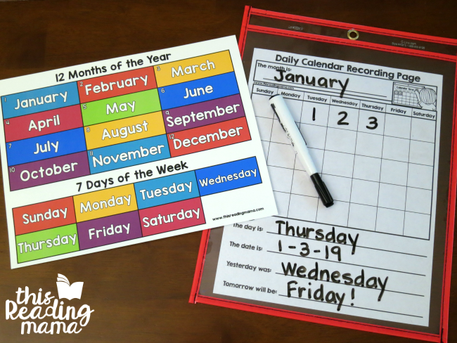 calendar vocabulary with months of the year chart and days of the week chart