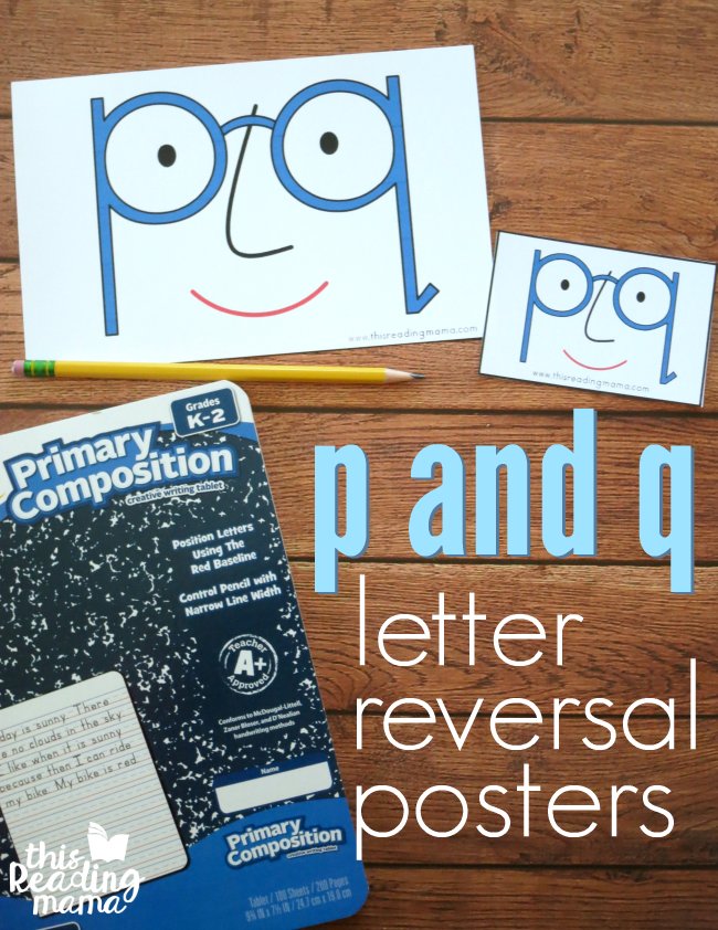 Posters for p and q Letter Reversals - This Reading Mama