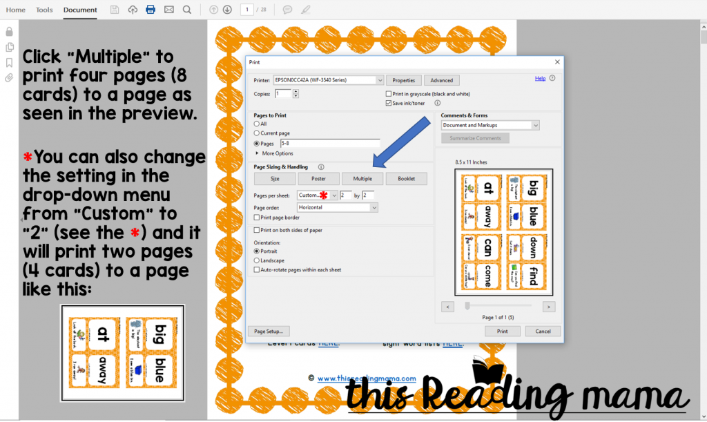 "Click ""Multiple"" to print smaller sight word sentence cards"