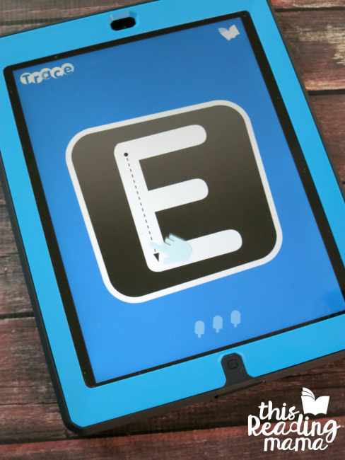 Letter Trace App - directions are given for each letter formation