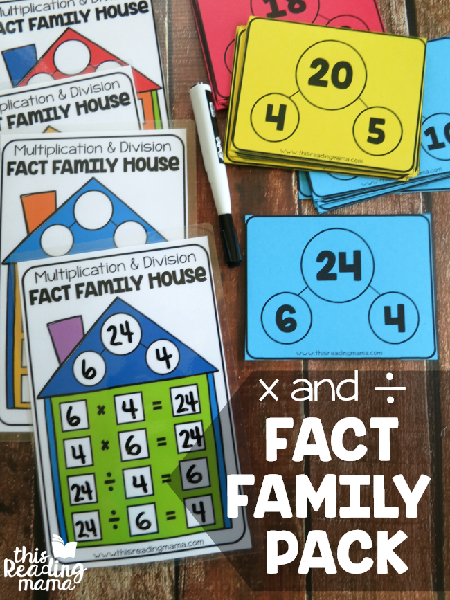Multiplication and Division Fact Family Pack - cards and houses - This Reading Mama
