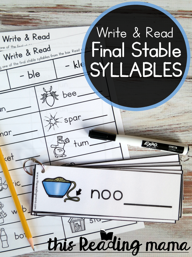 Write and Read Final Stable Syllables Pack - This Reading Mama