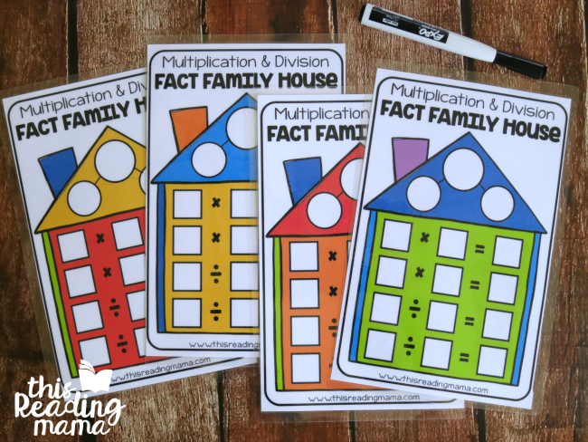 math fact family houses for multiplication and division