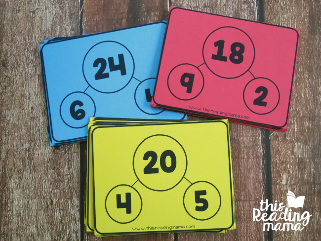 multiplication and division fact family cards - color coded