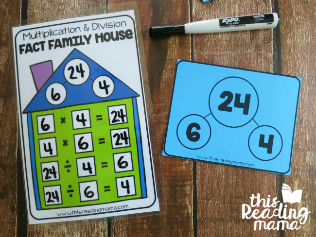 write the multiplication and division fact family number sentences