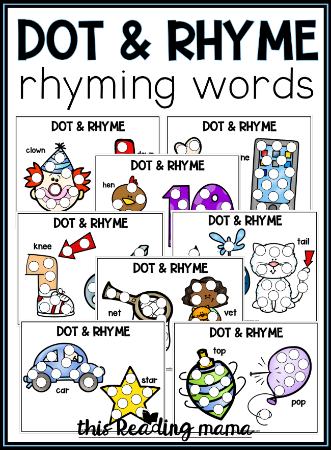 20 Free Rhyming Dot Pages: Dot and Rhyme - This Reading Mama