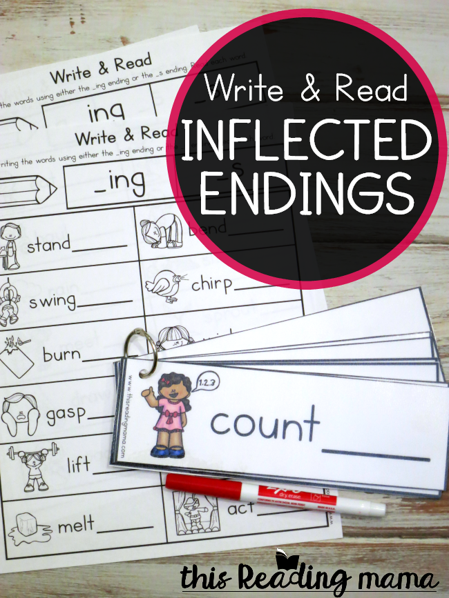 Inflected Endings Pack - Write and Read for -ing and -s endings - This Reading Mama
