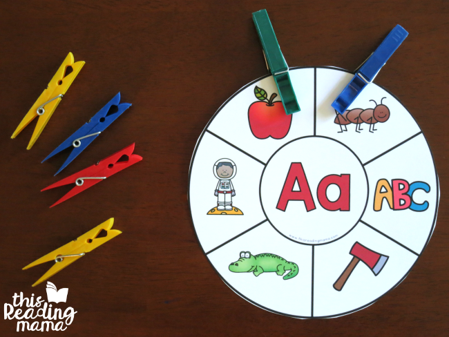 alphabet clip cards to reinforce letter and sound