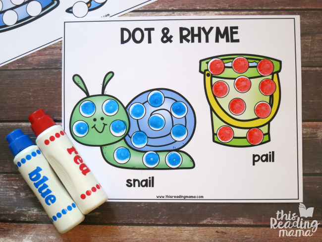 rhyming dot pages - snail and pail example