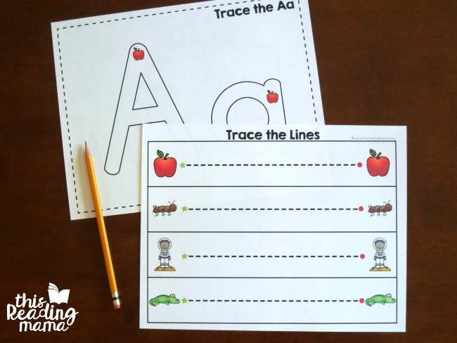 tracing pages are included but not recommended for young toddlers