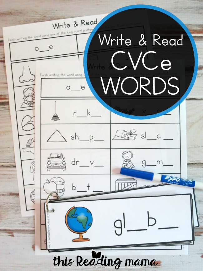 CVCe Words - Write and Read Pack - This Reading Mama