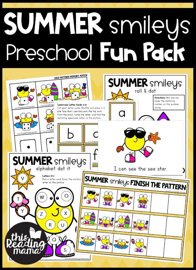 Summer Smileys Preschool Summer Pack - This Reading Mama