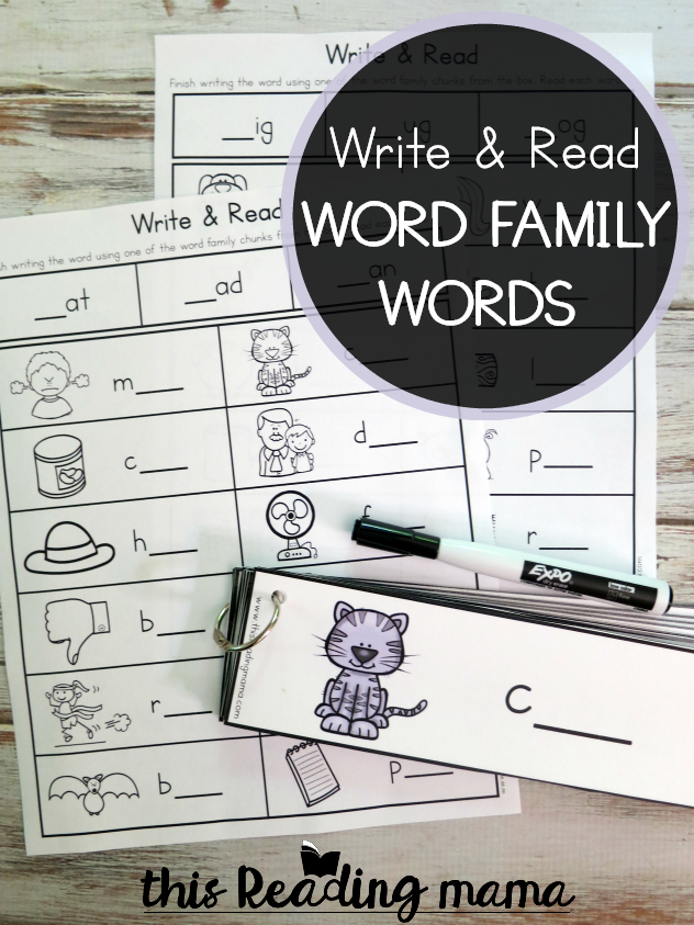 Word Family Words - Write & Read Pack - This Reading Mama