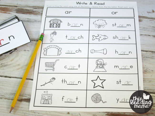 bossy r vowels write and read page