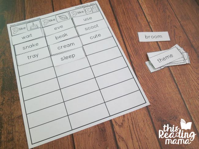 vowel team word sorts on sorting mat