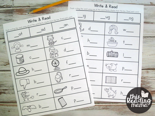word family words write and read no prep worksheets