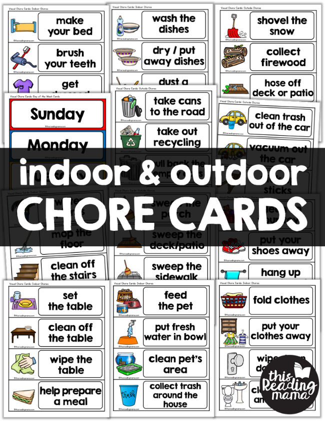 Indoor & Outdoor Visual Chore Cards for Kids - This Reading Mama