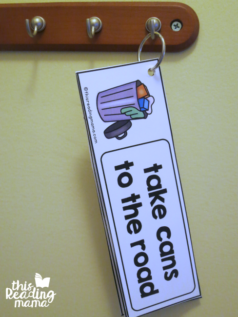 hang the visual chore cards on a hook