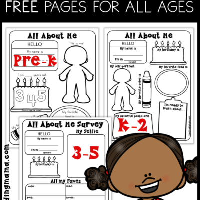 All About Me Pages for Preschool – 5th Grade