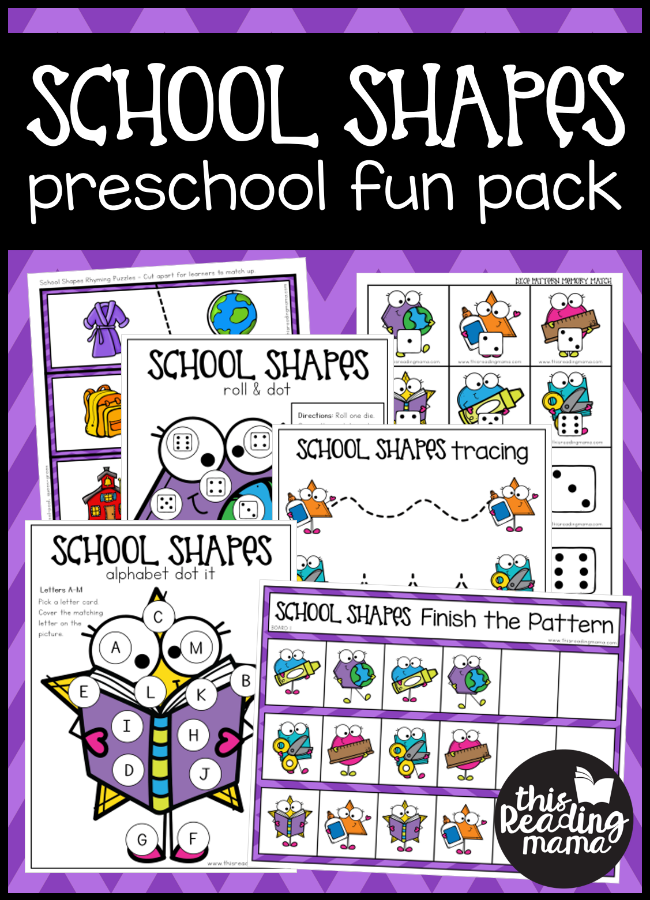 Back to School Preschool Pack - School Shapes - This Reading Mama