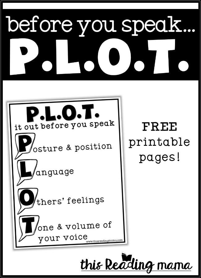 Before You Speak PLOT it out - FREE Printable Included - This Reading Mama
