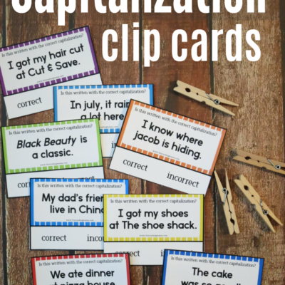 Free Capitalization Clip Cards
