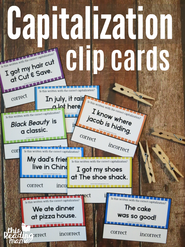 Free Capitalization Clip Cards - This Reading Mama