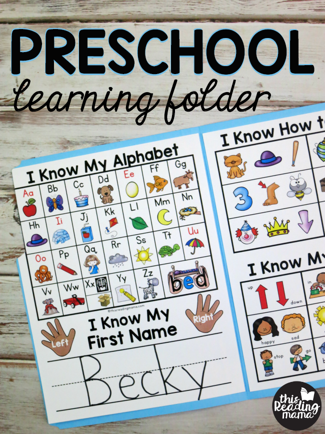 Preschool Learning Folder - This Reading Mama