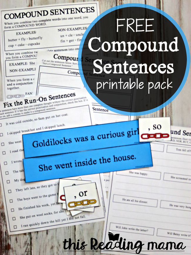 Compound Sentences Printable Activities - This Reading Mama