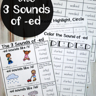 The Three Sounds of -ed Printable Pack