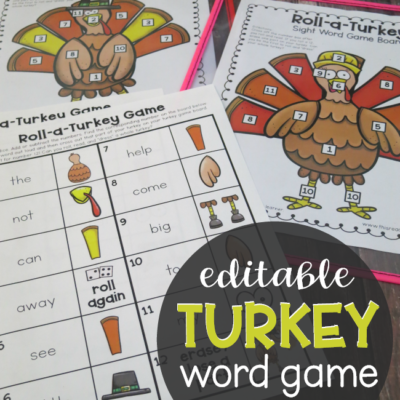 Editable Turkey Word Game