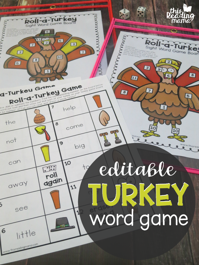 Editable Turkey Word Game - This Reading Mama