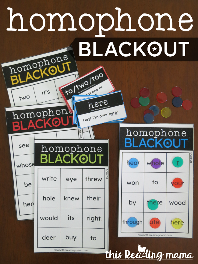 Homophone BLACKOUT Game - This Reading Mama