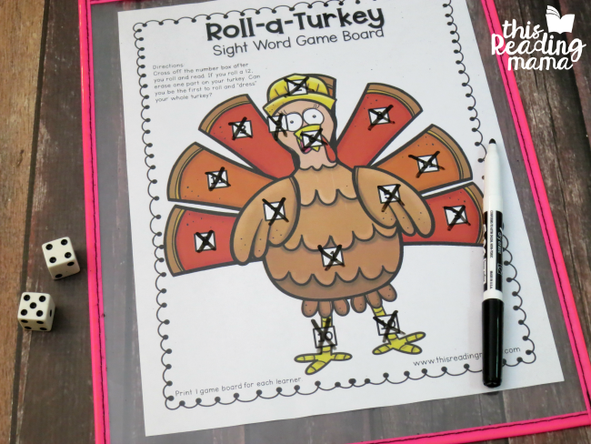 cross off all the numbers on the turkey board to win