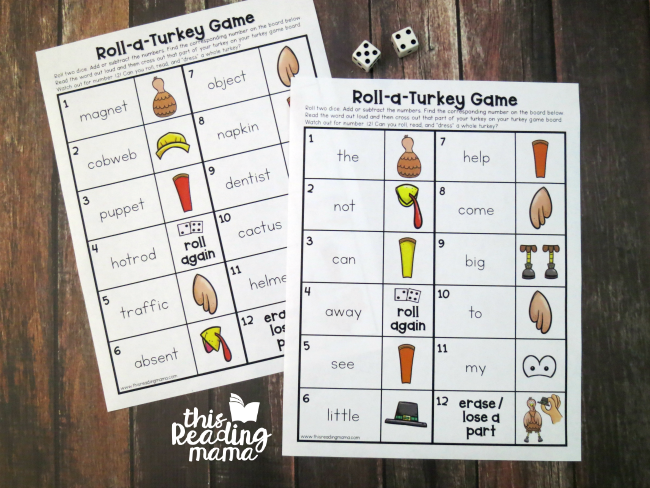 editable turkey word game - editable pages for words