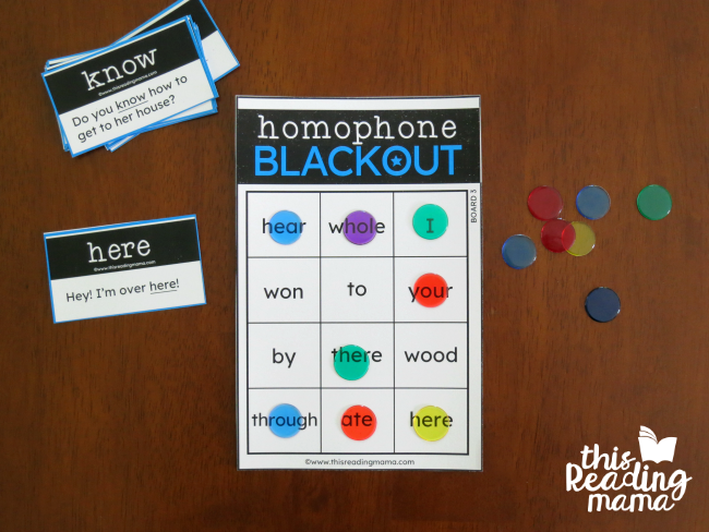 homophone blackout games - cover your board