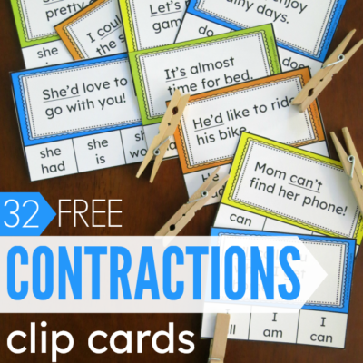 32 FREE Contractions Clip Cards