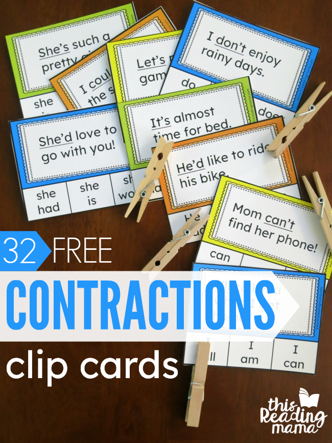 32 FREE Contractions Clip Cards - This Reading Mama